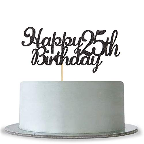 Happy 25th Birthday Cake Topper, Black Glitter Cheers To 25 Years Cake Topper,Hello 25 - Anniversary Party Decoration
