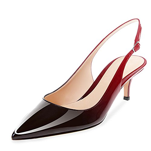 Women Patent UMEXI Leather Kitten Pumps Party Heel to Red Black Low Slingback Dress Shoes Wedding Heel 0gdwqd