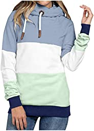 Womens Cowl Neck Sweatshirts Casual Striped Color Block Pullover Hoodies Long Sleeve Drawstring Hooded Tunic T