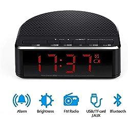 SCZZ Bluetooth Speaker, Digital Alarm Clock, Red Digit Display Built-in Microphone Bluetooth Alarm Clock Speaker FM Radio for Bedrooms Hotels Tables Bedside Led Alarm Clock