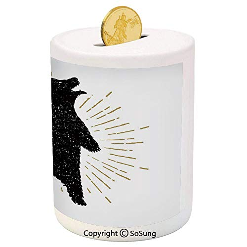 (Bear Ceramic Piggy Bank,Sketch of Tribal Icon with Roaring Grizzly Bear and Sunburst Effect Vintage Wildlife Decorative 3D Printed Ceramic Coin Bank Money Box for Kids & Adults,Black White)