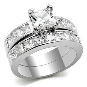 stainless steel princess cut cubic zirconia engagement ring wedding band - Cubic Zirconia Wedding Rings