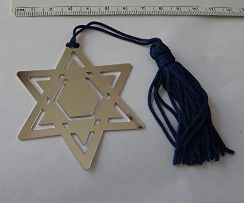 2.5'' Silver Notarnish Nickel Star of David Bookmark Blue Tassel Bar Bat Mitzvah