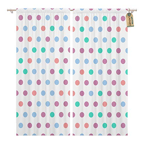 Golee Window Curtain Abstract Colorful Dots Polkadot Pattern Geometric Circles for Pop Home Decor Rod Pocket Drapes 2 Panels Curtain 104 x 63 inches (Dotted Knit Dress)