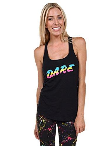 80's Halloween Costume (New Women's Neon Rainbow Black DARE Tank Top Shirt - Eighties Halloween Costume (Medium))
