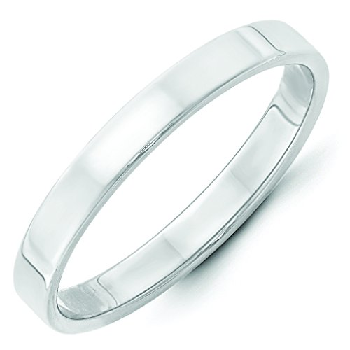 14K White Gold 3mm Lightweight High Polish Finish Flat Pipe Cut Wedding Band - Size 8 by Forever Flawless Jewelry