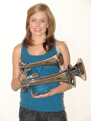Behemoth Triple Trumpet Train Air Horn 152db Chrome Finish NIB