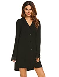 Ekouaer Sleepwear, Women Long Nightgown, Boyfriend Style Lounge Sleep Shirt S-XXL