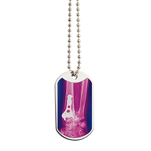 Fractures Wrist (CafePress - Pinned Wrist Fracture, X-Ray - Military Style Dog Tag, Stainless Steel with Chain)