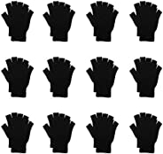 CUGBO 12Pack Men Women Winter Half Finger Magic Gloves Knitted Fingerless Mitten