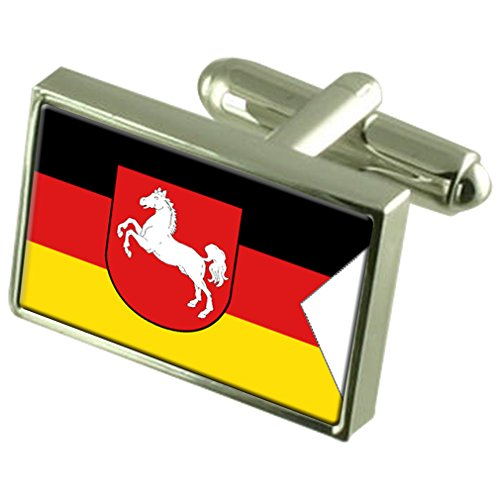 Lower Saxony State Sterling Silver Flag Cufflinks by Select Gifts