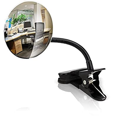 "Flexible 4"" Office Desk Mirror With Clip For Personal Safety & Security - Clip On Mirror Ideal For Any Office Environment - Never Worry About People Behind You Again"