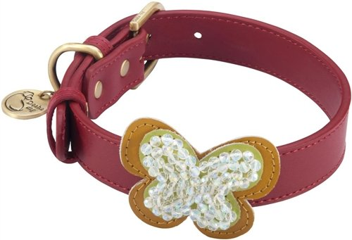 Dosha Dog CB-01 XL Butterfly Dog Collar, X-Large, Red