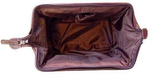 Dunkelbraun Italienisch ausblenden Leder Labrador Wash Bag von Tyler and Tyler