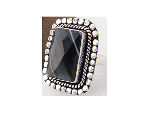 Surbhi Crafts Black Banded Botswana Agate Ring Silver Plated Ring Handmade Designer Ring Jewelry (Ring Size 9.5 USA) AH-12041