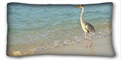 Decorative King Pillow Case Animals bird sea s shore long legs walk 20