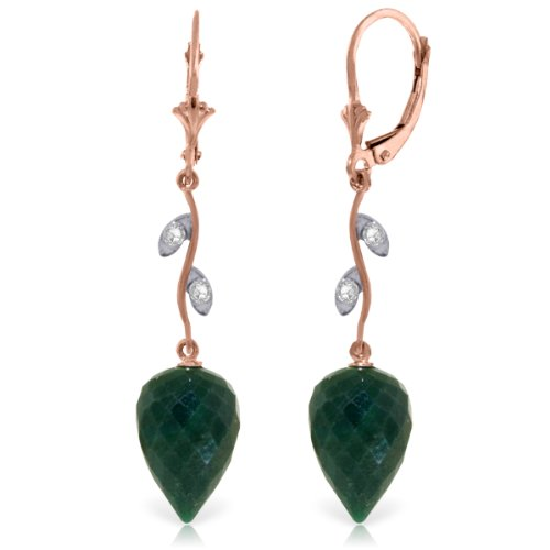 Sapphire Natural Green (Galaxy Gold 14K Solid Rose Gold Drop Style Lever Back Earrings with Natural Diamond Accents and Green Sapphires)