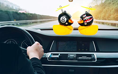 DANUC Rubber Ducky Car Dashboard Decorations Rubber Duckie Shark Helmet Duck Car Dash Interior Ornament Accessories Décor Toy for Men Women Kids Boy Girls 2pcs (1pcs 8+1pcs Shark)