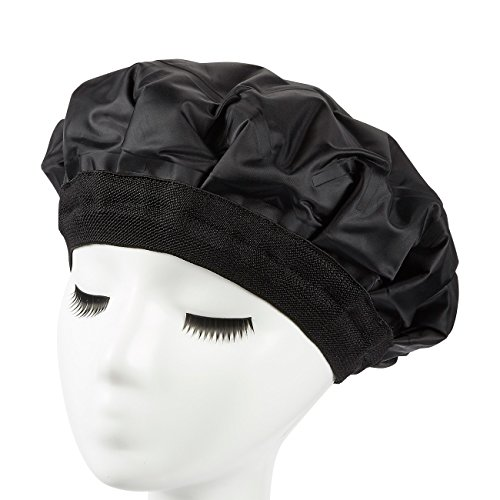 Heat Cap - Conditioning Cap - Heated Gel Cap for Deep Conditioning, Hair Treatment, Hair Therapy, Black - Diameter Heating