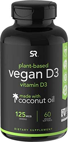 Vegan Vitamin D3 (5000iu/125mcg) Enhanced with Coconut Oil for Better Absorption ~ Bone, Joint and Immune System Support ~ Non-GMO & Gluten Free (60 Veggie-Softgels)