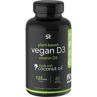 Vegan Vitamin D3 (5000iu/125mcg) Enhanced with Organic Virgin Coconut Oil ~ Bone, Joint and Immune System Support ~ Vegan Certified, Non-GMO & Gluten Free (60 Veggie-Softgels)