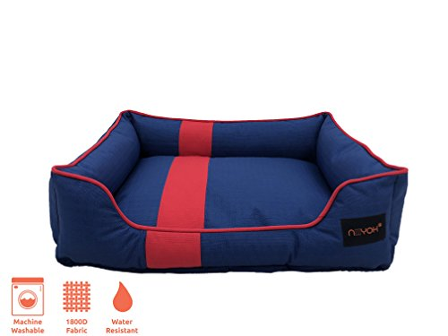 Niiyoh Mighty Puppy Bed (Lounge-Style) with Super Durable 1800D Ripstop Fabric (Great for Outdoors!) - Blue/RED