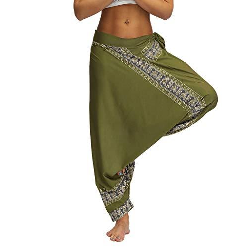 - Womens Baggy Trousers Boho Print Casual Loose Harlan Pants Yoga Elastic Waist Pants with Belt