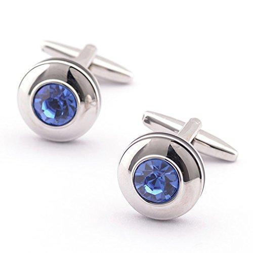 Crystal Elegant Cufflinks (Super Shiny Swarovski Quality Blue Crystal Circular Cufflinks Elegant Style)