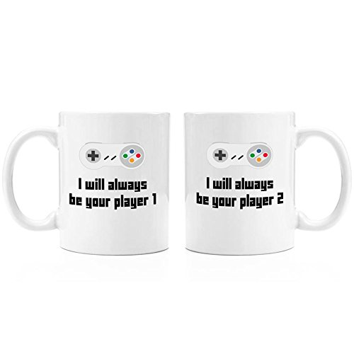 I Will Always Be Your Player 1 set of 2 mugs| 11oz Premium Coffee Mug Set - PC Gamer Gifts for men, Birthday, Joke Gamer, for Kids, for Girls, for Boys, ps4, xBox, 360, Computer, Teens, Boyfriend