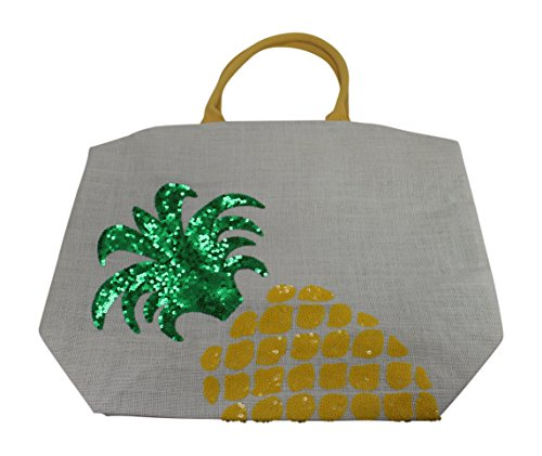 Two's Company Palm Beach Expressions Sequin Icon Tote, Pineapple