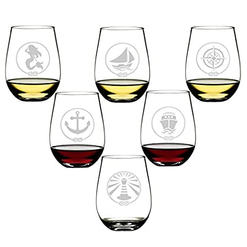 SET OF 6 -Stemless Wine Glasses-Nautical Themed, Resturant Quility Plastic, 14oz, Best Shatter Proof Drinking Glass for Wine, Cocktails or - Plastic Lily Tub