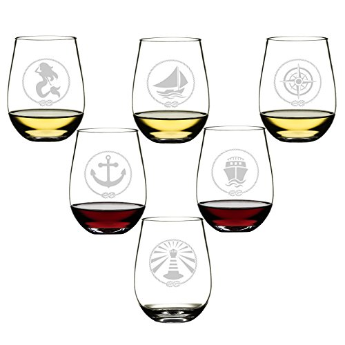 SET OF 6 -Stemless Wine Glasses-Nautical...