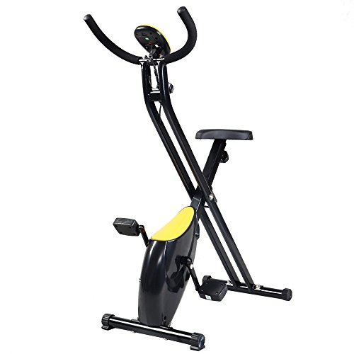 Folding Exercise Bike Home Trainer Fitness Cycling Magnetic Stationary Machine Speed Easy Storage ABS Goplus
