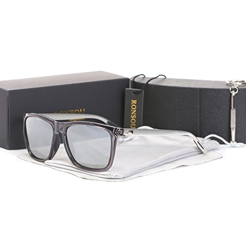 Ronsou Men Women Stylish Polarized Sunglasses 100% UV400 Protection Sun Glasses For Driving Fishing Golf transparent frame/silver - Store Hours Hut Sunglass
