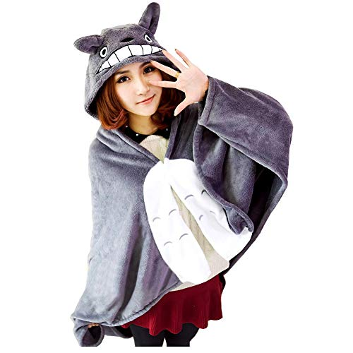 (Joyralcos Anime Cosplay Cape Flannel Cloak Daily Nap Quilt Throw Blanket Hooded Coat Poncho (M, Height)