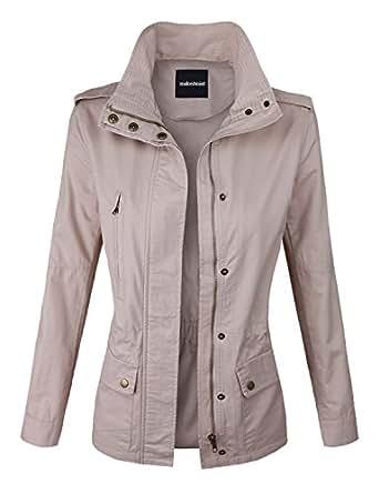 makeitmint Women's Zip Up Military Anorak Jacket w/ Pockets Small YJZ0005_BLUSH