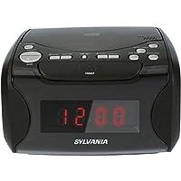Radio reloj despertador Sylvania con reproductor de CD y carga USB