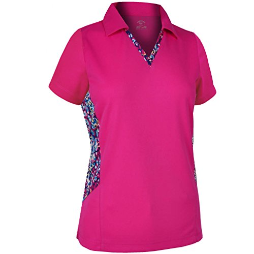 Monterey Club Ladies Dry Swing Mallard Water Line Contrast Shirt #2667 (Berry, X-Large)
