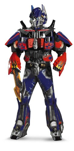 Disguise Men's Hasbro Transformers Age Of Extinction Movie Optimus Prime Theatrical with Vacuform Plus 3D Costume, Blue/Red, (D W Costumes)