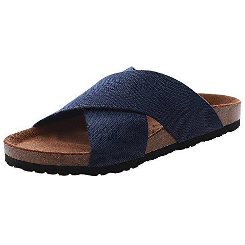 VVFamily Women Elastic Sandal Slipper Casual Sandalias House Shoes Light Weight Comfort Wide Footbed Slip On Sandle by Navy Blue 49zvgFLsHL