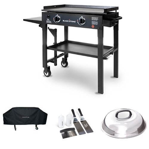 Blackstone 28 inch Outdoor Flat Top Gas Grill Griddle Station - 2-burner - Propane Fueled - Restaurant Grade - Professional Quality with Cover, Accessory Kit and Dome (Griddle Top Thick)