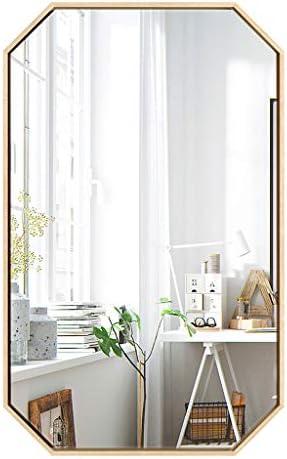 北欧装飾ウォールミラー、ゴールドポリゴンメタルフレーム、ミラーガラス - バスルームミラー、洗面化粧台、洗面所、リビングルーム、通路