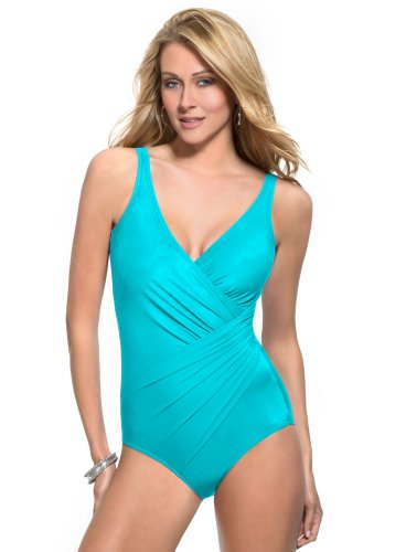 Miraclesuit Aquamarine DD-Cup Oceanus Underwire One Piece Swimsuit Size 14DD by Miraclesuit