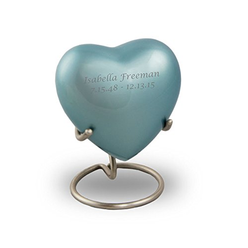 Bronze Keepsake Urns - Extra Small - Holds Up To 5 Cubic Inches of Ashes - Ocean Blue Cremation Urn for Ashes - Engraving Sold Separately - Bronze Small Urn