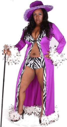 Plus size Pimp Costume w robe, hat, cane, shorts, purple 1x