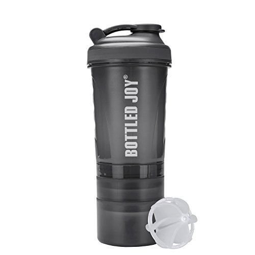 BOTTLED JOY Water Bottle, Protein Shaker Bottle with 3-Layer Twist and Lock Storage, 100% BPA-Free Leak Proof Shaker Cup for Fitness Sports and Travel Non-Slip Mix Drinking Bottle 20oz 600ml (Grey)