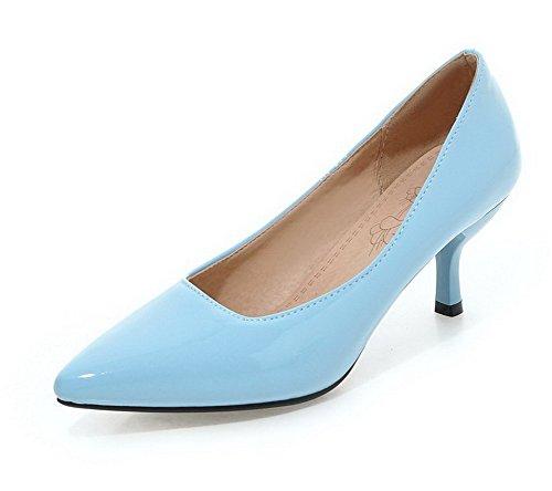 Zehe Spitz Blau Mittler Absatz Schuhe Ziehen Auf Allhqfashion Damen Rein Pumps Lackleder