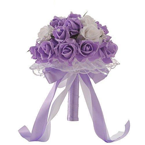 NszzJixo9 Wedding Bouquet - Crystal Rose Pearl Bridesmaid Bride Artificial Silk Flower Bridal Brooch Bouquets, Flowers Diamond Satin Bouquets for Wedding, Engagement Valentine's Day Decor (Purple) ()