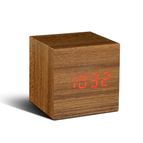 Gingko Cube Click Clock Teak/Red LED