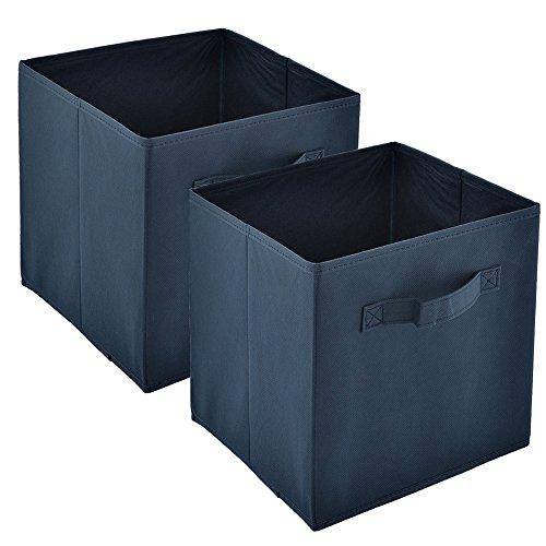 Heselian Foldable Fabric Drawer, Basket Bin Organizer Storage Bin, Cube Organizers, 2Pack, Dark Blue